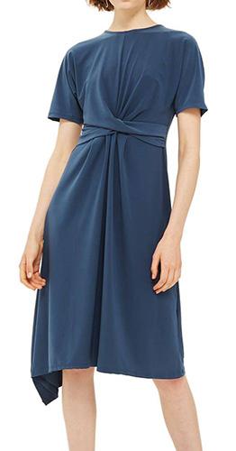 Twist Front Jersey Midi Dress