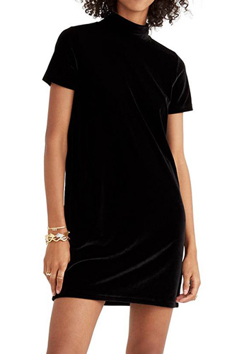 Velvet Mockneck Shift Dress