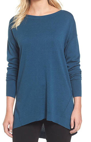 Zip Back High/Low Tunic Sweater
