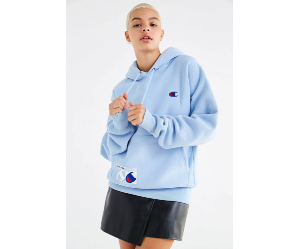 champion urban outfitters baby blue hoodie