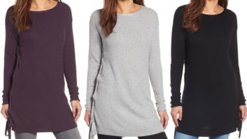This $35 Lace-Up Tunic Sweater Is Crazy Flattering--Get One In Every Color While It's On Sale