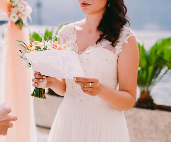 Bride holding note