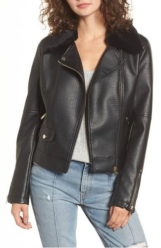 coffee shop faux leather jacket