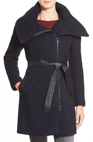 Belted Asymmetrical Bouclé Wool Blend Coat
