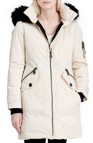Calvien Klein Hooded Down Parka with Removable Faux Fur Collar