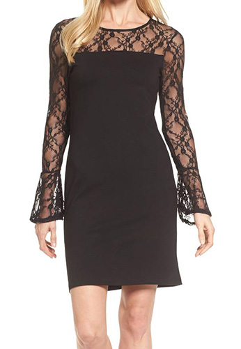 Flared Cuff Lace Sleeve Dress