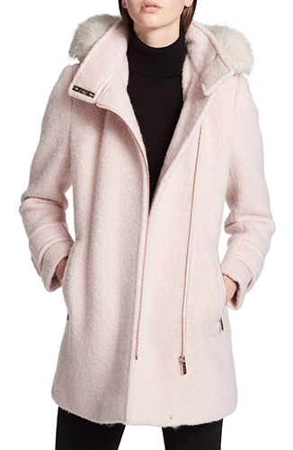 Hooded Wool Blend Jacket with Faux Fur Trim
