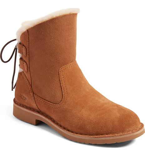 Naiyah Lace-Back Genuine Shearling Boot