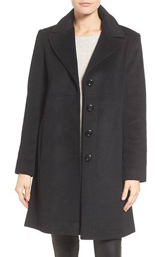 Notch Collar Wool Blend Coat
