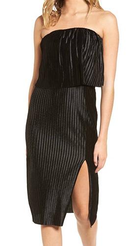 Pleated Popover Midi Dress