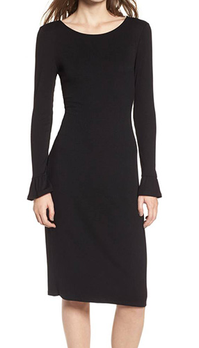 Ruffle Sleeve Ribbed Midi Dress
