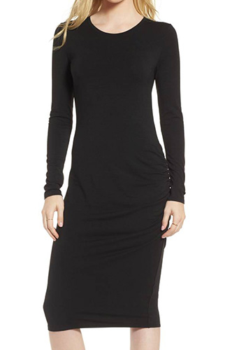 Side Ruched Knit Sheath Dress
