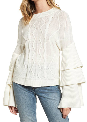 Tiered Sleeve Cable Knit Sweater