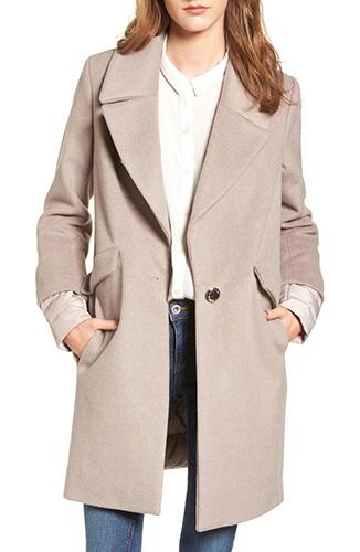 Wool & Down Reefer Coat