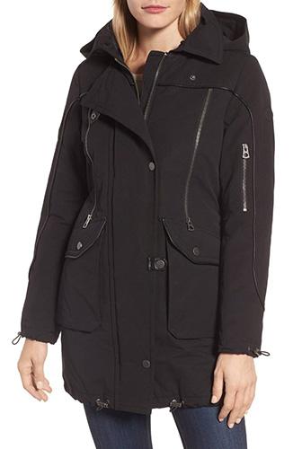 Zip Detail Parka with Faux Fur