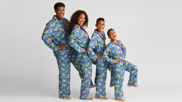 107801293e Gather up the whole family and take photos in these matching holiday pajamas !