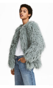 blue faux fur coat hm
