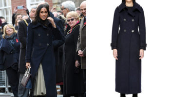 We Found Meghan Markle's Navy Coat For $100! Plus, The Rest Of Her Nottingham Look.