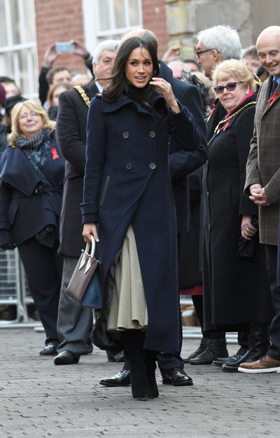 meghan markle navy mackage elodie coat