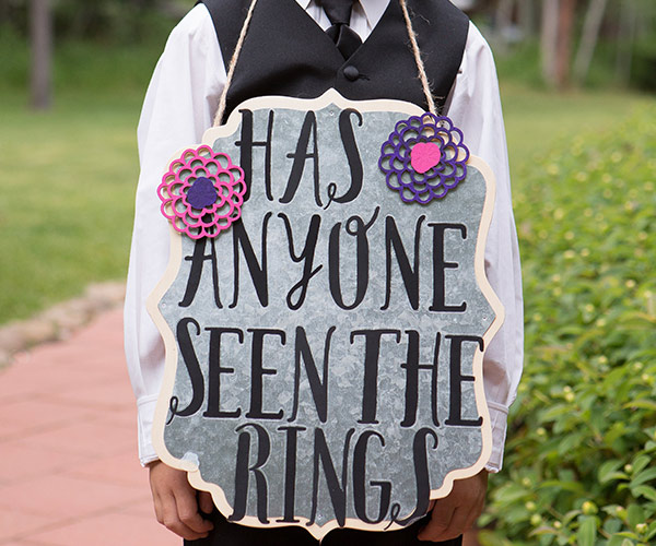 Ring Bearers with funny signs