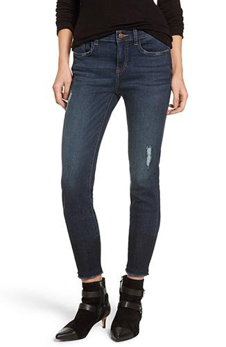 Colorblock Hem Skinny Jeans