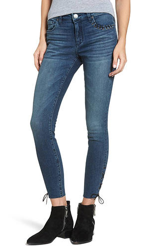 Emma Lace-Up Ankle Skinny Jeans