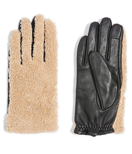 Faux Fur & Leather Gloves