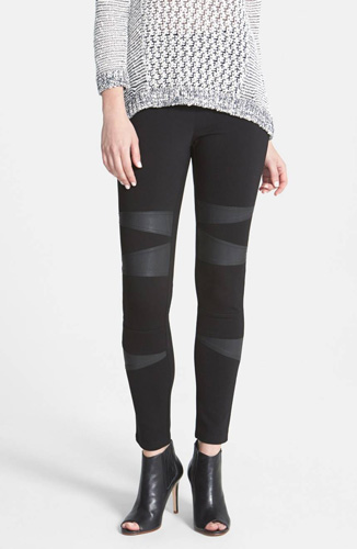 Faux Leather Trim Moto Leggings