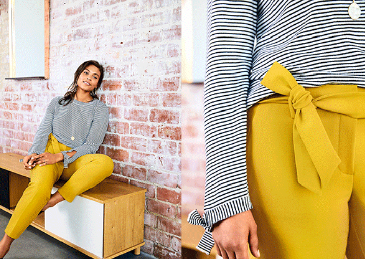 loft plus collection striped shirt marigold pants