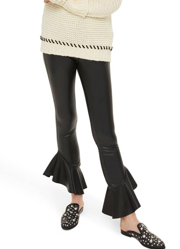 Mermaid Flare Faux Leather Leggings