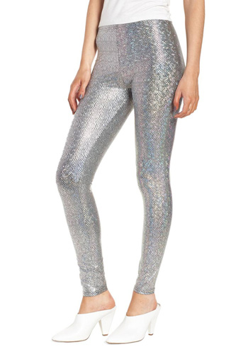 Metallic Foil Snake Print Leggings