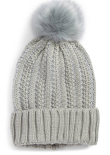 Metallic Knit Beanie with Faux Fur Pompom