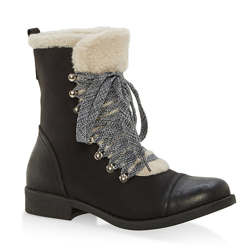 Sherpa Lined Faux Suede Lace Up Booties