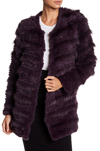 Bagatelle Tiered Genuine Rabbit Fur & Genuine Fox Fur Coat