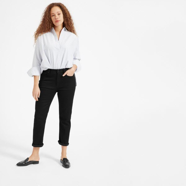 everlane black modern boyfriend jeans