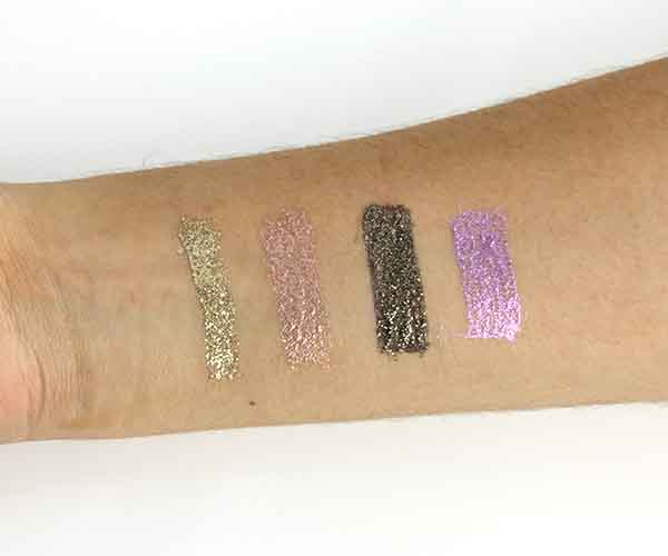too faced glitter pop! peel-off eyeliner swatches review