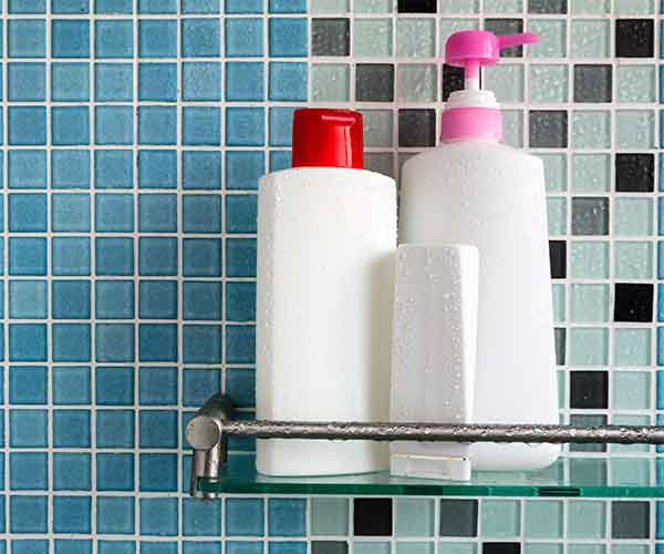shampoo and conditioner in shower