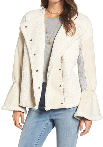 x Something Navy Bell Sleeve Faux Shearling Jacket