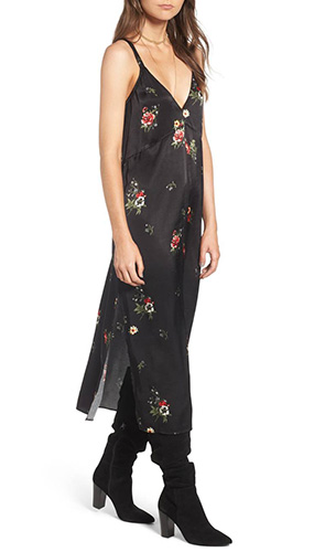 x Something Navy Floral Print Slipdress