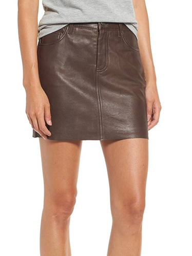 x Something Navy Leather Miniskirt