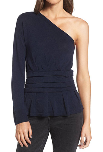 x Something Navy One-Sleeve Sweater