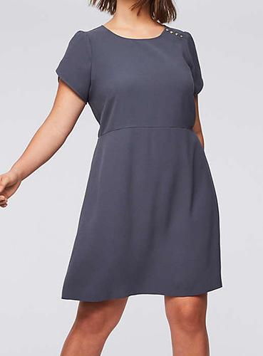 Loft Button Flare Dress
