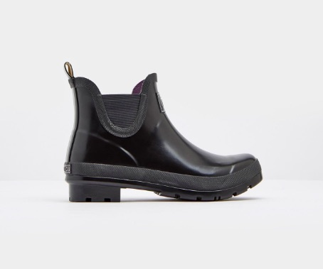 joules wellibobs short black glossy rain boots