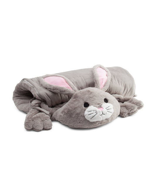 kids bunny plush sleeping bag