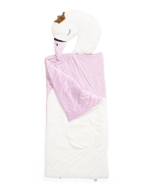 kids swan princess plush sleeping bag