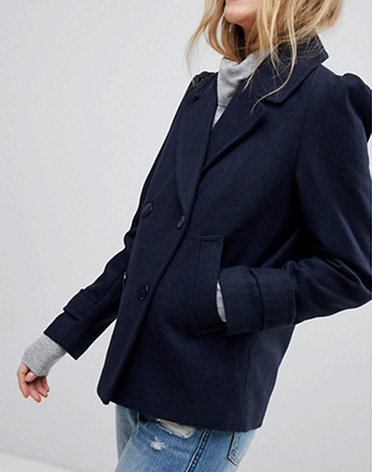 ASOS Puff Sleeve Pea Coat