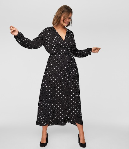 loft plus polka dot midi wrap dress
