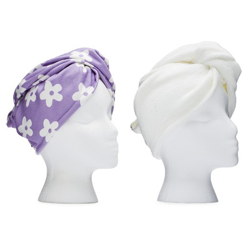 Hair Towel Purple Flower and White