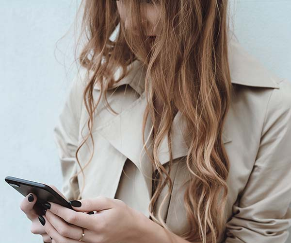 woman on iPhone