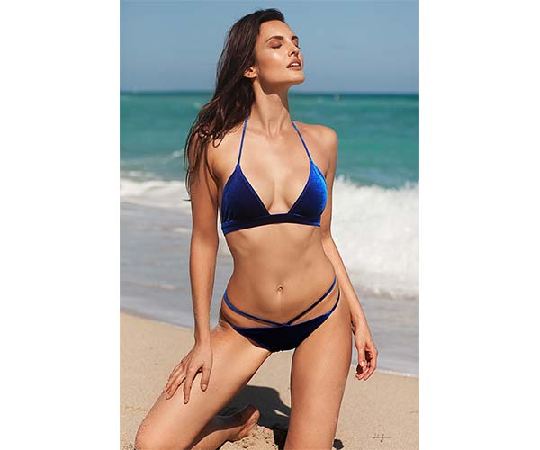 ChicCartel navy velvet crushed bikini